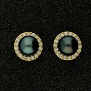 18ct Gold Round Brilliant Cut Diamonds 0.33ct, Claw Set 'Cuff' Earrings