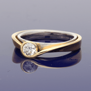 18ct Rose & White Gold Contempory 0.32ct Certificated Diamond Ring