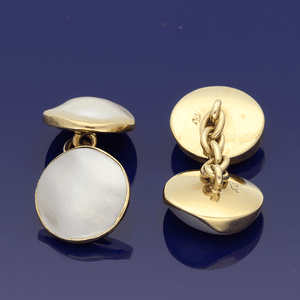 15ct Antique Gold Mother of Pearl Cufflinks