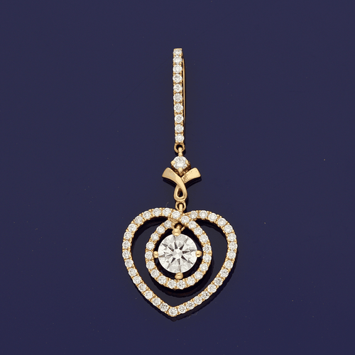 18ct Rose Gold Diamond Fancy Heart Pendant