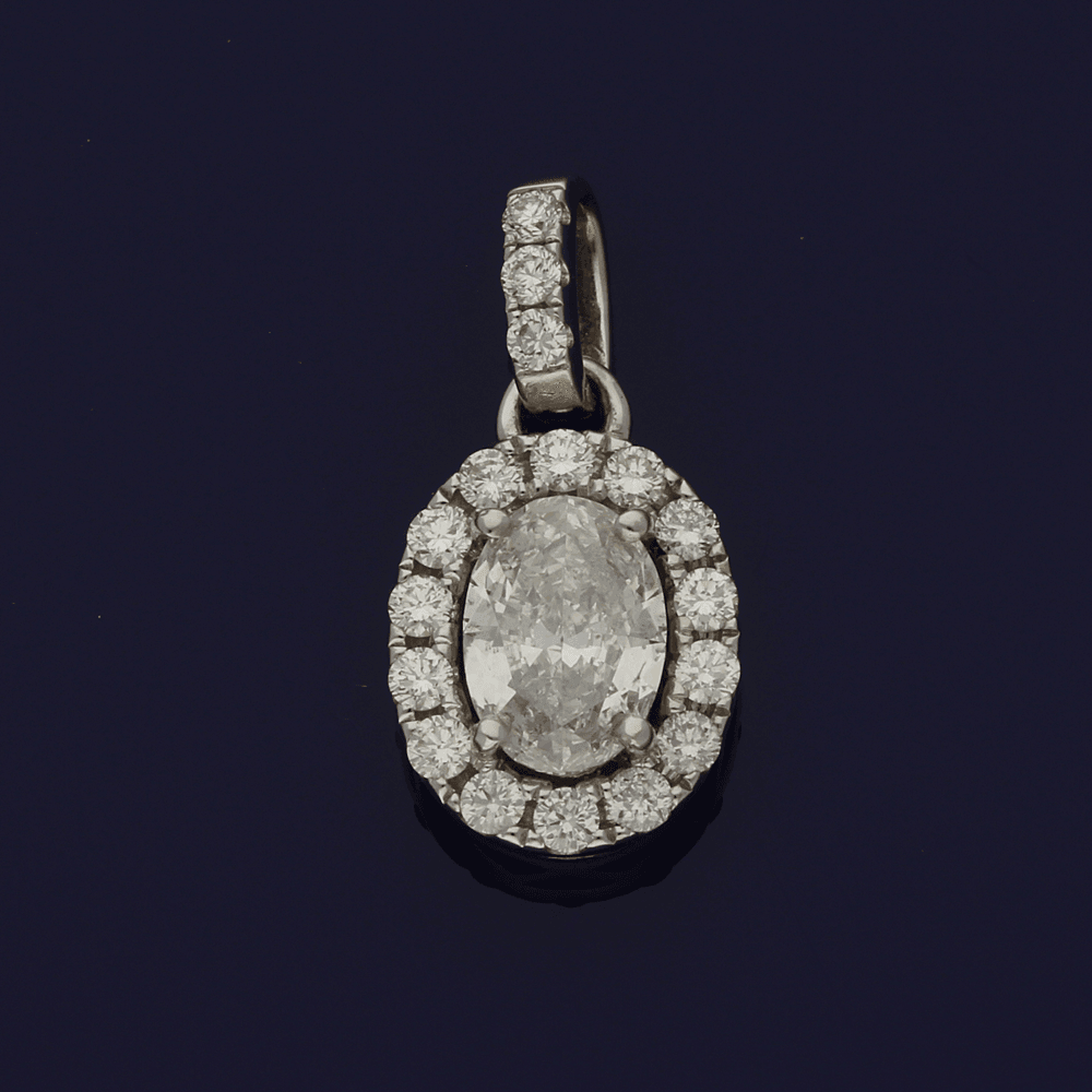 18ct White Gold Oval Diamond Cluster Pendant