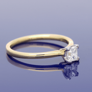 18ct Yellow Gold 0.39ct Princess Cut Diamond Solitaire Ring