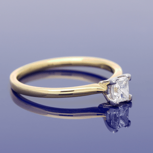 18ct Yellow Gold Princess Cut Diamond Solitaire Ring