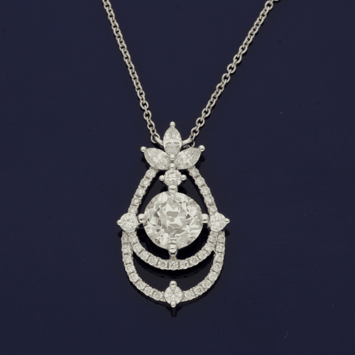 18ct White Gold Old Cut 1.85ct Diamond Necklace