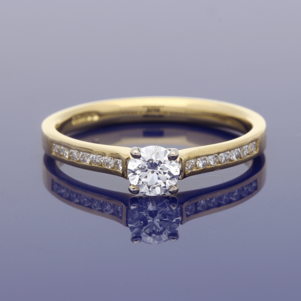 18ct Yellow Gold Solitaire Ring with Diamond Set Shoulders