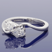 18ct White Gold Pear Shape Diamond Twist Ring