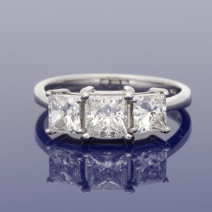 Platinum Three Princess Cut Diamonds 1.69ct J/K Pk, Claw Set Three Stone Ring