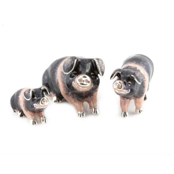 Silver Enamel Saddleback Pig - Medium