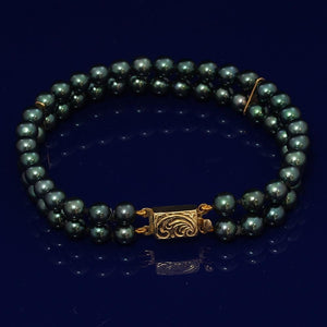 5.5mm Green Akoya Pearl Double Row Bracelet