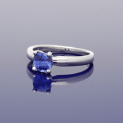 18ct White Gold Cushion Cut Sapphire Solitaire Ring