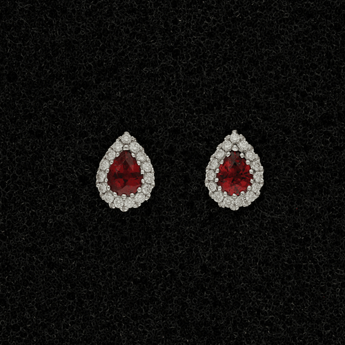 18ct White Gold Ruby & Diamond Teardrop Cluster Earrings