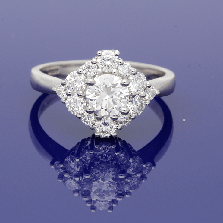 Platinum 1.27ct Diamond Cluster Ring