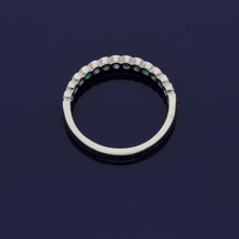 18ct White Gold Emerald & Diamond Half Eternity Ring