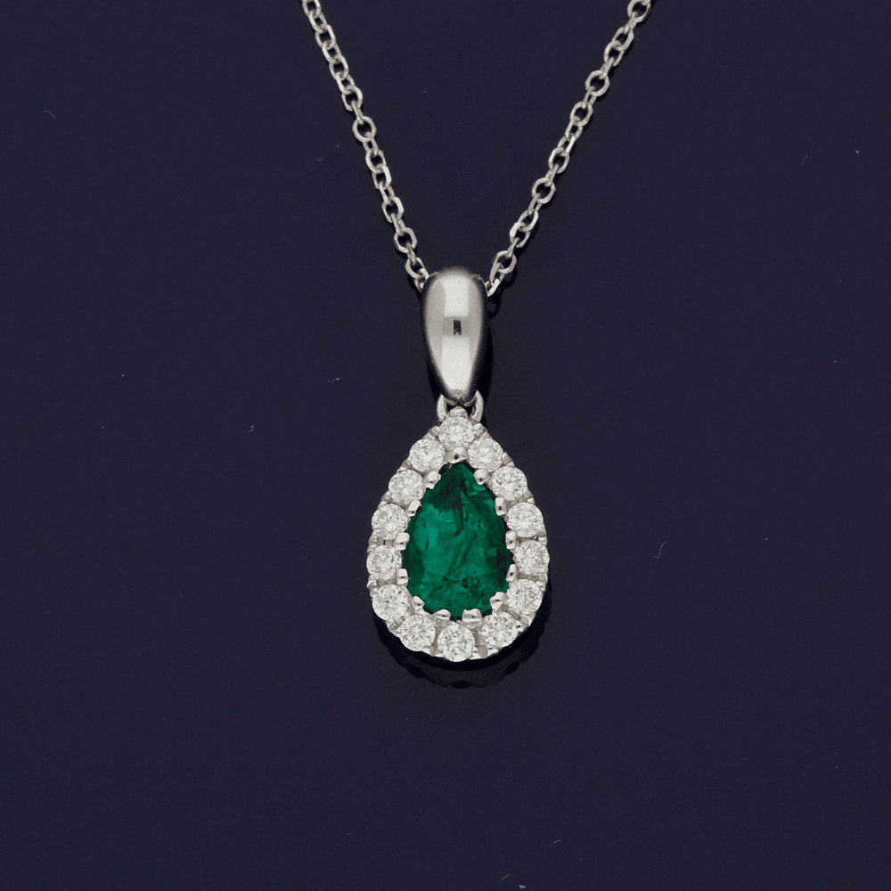 18ct White Gold Emerald & Diamond Teardrop Necklace