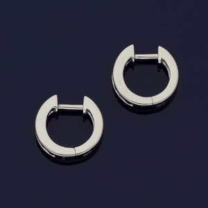 18ct White Gold Sapphire & Diamond Channel Set Small Hoop Earrings