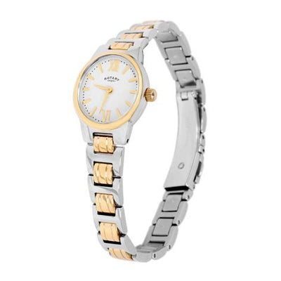 Ladies Oval Rotary Two Tone Stainless Steel & Pvd Bracelet Watch