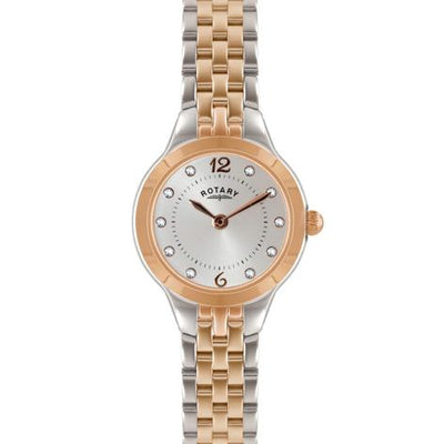 Ladies Rotary Two Toned Gold Pvd Stainless Steel Bracelet Watch