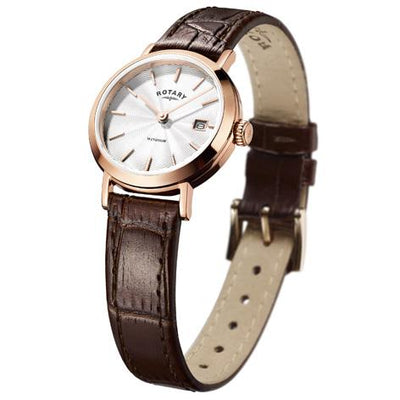 Ladies Rotary Rose Pvd Stainless Steel Leather Strap Watch