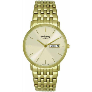 Gents Rotary Day And Date Gold Pvd Stainless Steel Bracelet Watch