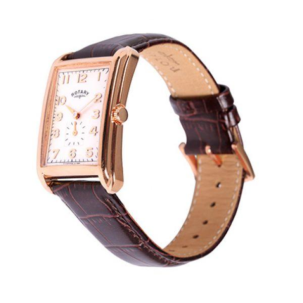 Gents Rotary Rose Pvd Stainless Steel Rectangle Leather Strap Watch