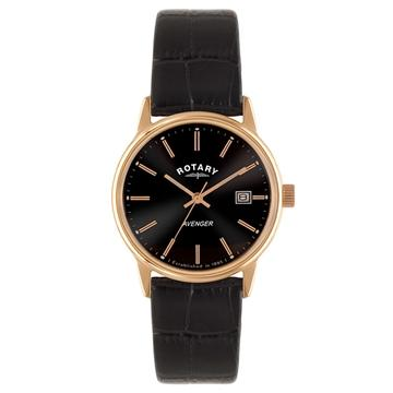 Gents Rotary Rose Pvd Stainless Steel Leather Strap Watch