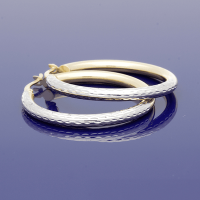 9ct White Gold & Yellow Gold 25mm Patterned Hoop Earrings