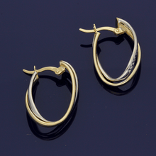 9ct White Gold & Yellow Gold Wave Twist Hoop Earrings