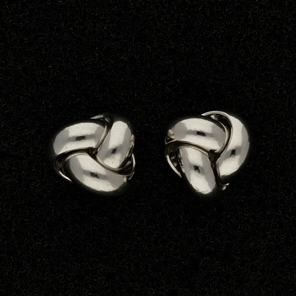 9ct White Gold Chunky Knot Stud Earrings