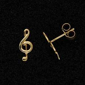 9ct Yellow Gold Treble Clef Music Note Stud Earrings