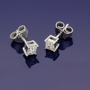9ct White Gold 0.50ct Princess Cut Diamond Stud Earrings
