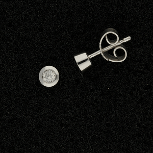 9ct White Gold 0.10ct Diamond Rub-over Stud Earrings