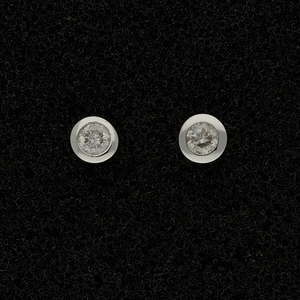 9ct White Gold 0.20ct Diamond Rub-over Stud Earrings