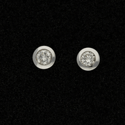 9ct White Gold 0.30ct Diamond Rub-over Stud Earrings