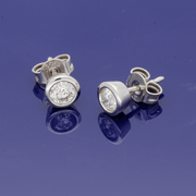 9ct White Gold 0.50ct Diamond Rub-over Stud Earrings