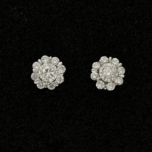 9ct White Gold Twinkle Set Diamond Cluster Stud Earrings