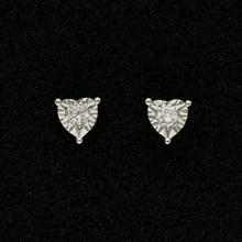 9ct White Gold Heart Twinkle Set Diamond Stud Earrings