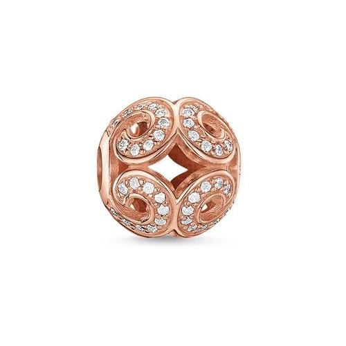 Thomas Sabo Sterling Silver Karma Bead Glittering Wave Rose Gold Plated K0027-416-14