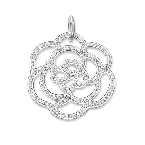 Thomas Sabo Sale - Silver and White Zirconia Large Flower Pendant PE522-051-14