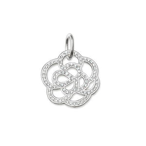 Thomas Sabo Sale - Silver and White Zirconia Small Flower Pendant PE520-051-14