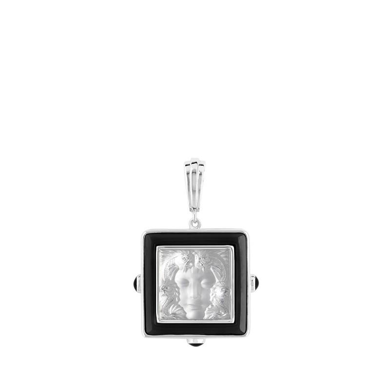 arethuse clear face with black enamel edge, pendant