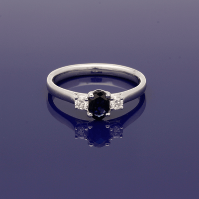 9ct  White Gold Oval Sapphire & Diamond Trilogy Ring