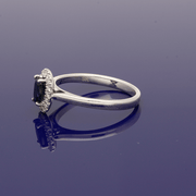 9ct White Gold Sapphire and Diamond Cluster Ring