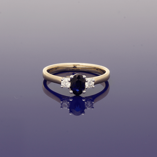 9ct Oval Sapphire & Diamond Trilogy Ring