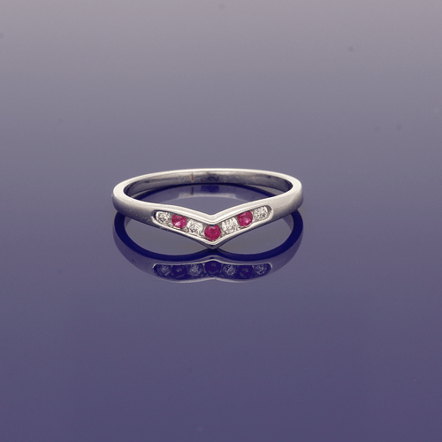 9ct White Gold Ruby and Diamond Wishbone Shaped Eternity Ring