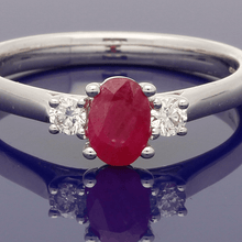 9ct White Gold Oval Ruby & Diamond Trilogy Ring