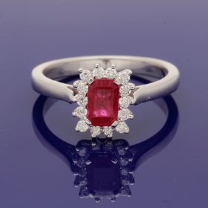 9ct White Gold Ruby and Diamond Cluster Ring