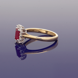 9ct Yellow Gold Ruby and Diamond Cluster Ring