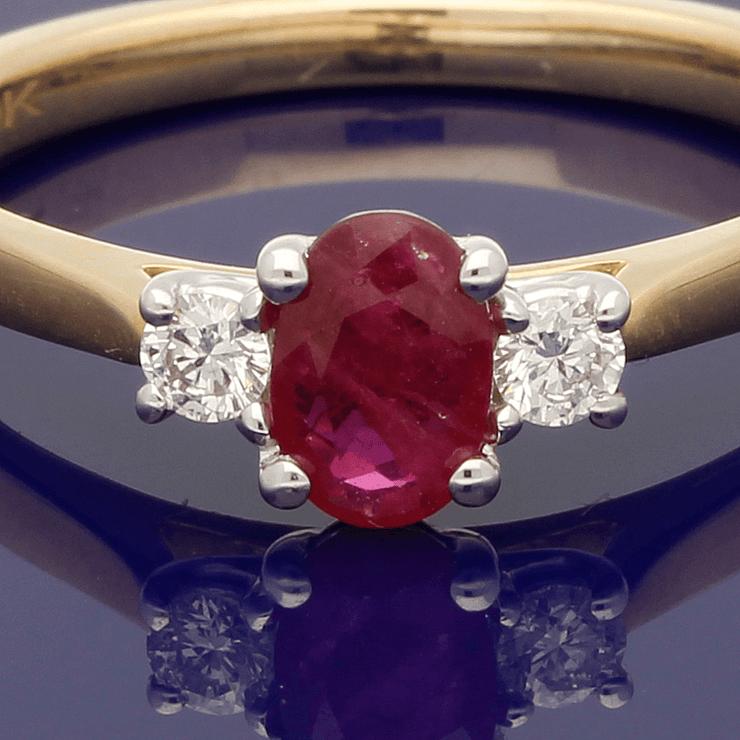 9ct Yellow Gold Oval Ruby & Diamond Trilogy Ring