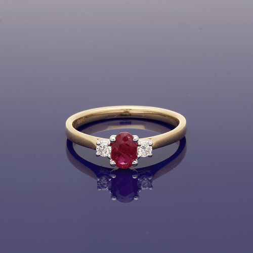 9ct Oval Ruby & Diamond Trilogy Ring
