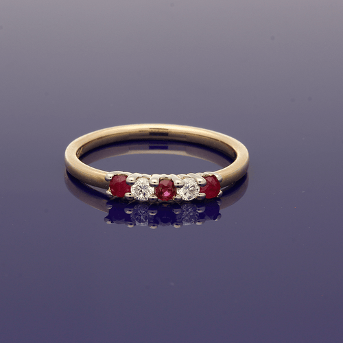 9ct Yellow Gold Ruby & Diamond Eternity Ring